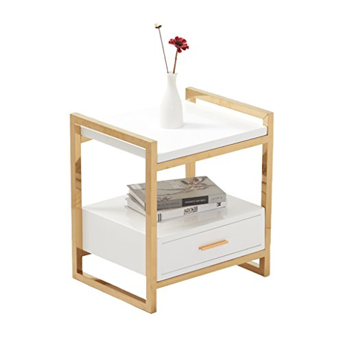 - NingNing NN End Table Bedroom Night Stand-Iron Tea Table Gold Color Multi-use Provincial Space Cabinet Bedside Table/Sofa Table/Desk Lamp Table Bedside Furniture (Color : White)