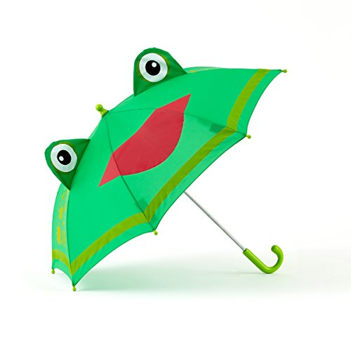 Shed Rain Green FROG Kid Child Stick Umbrella Black w/ Cat Ears No Pinch (Umbrella Frog)