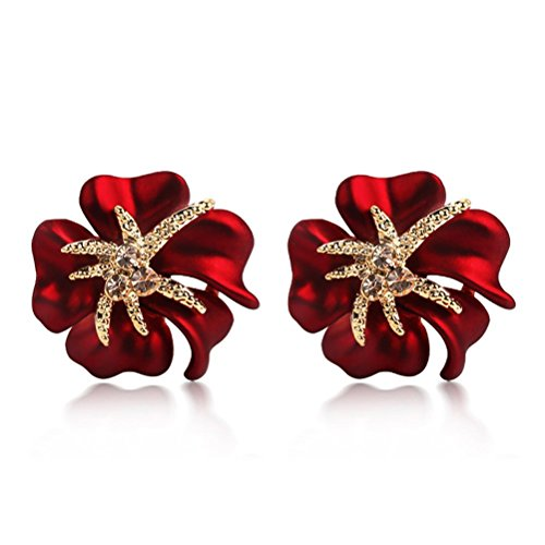 CNCbetter Women Fashion Jewelry Austrian Crystal Charms Red Big Flower Stud Earring for Lady Banquet