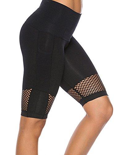 NonEcho High Waist Women Yoga Shorts with Pockets Athletic Mesh Capris Workout Leggings Running - Mesh Capri Shorts