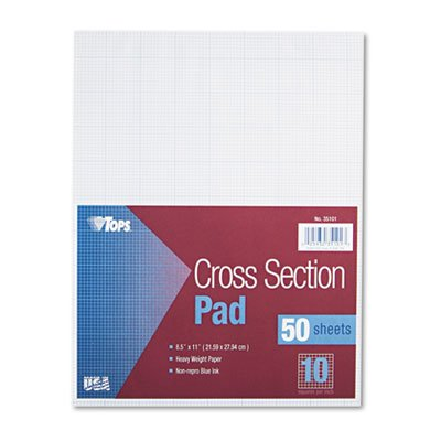 Section Pads w/10 Squares, Quadrille Rule, Ltr, White, 50 Sheets, Sold as 1 Pad, 12PACK , Total 12 Pad by TOPS (Image #1)