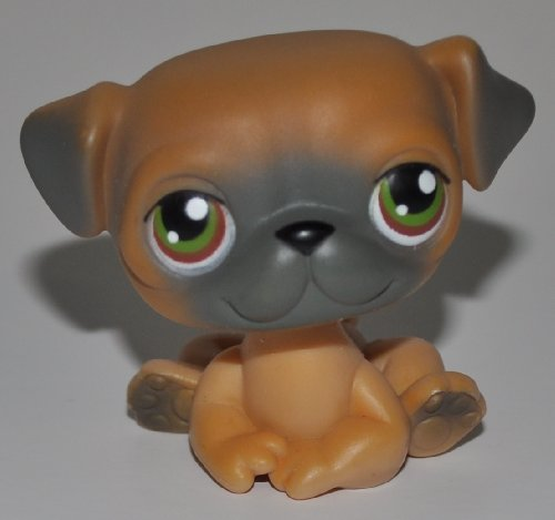 Pug #2 (Brown) - Littlest Pet Shop (Retired) Collector Toy - LPS Collectible Replacement Figure - Loose (OOP Out of Package & Print) ()