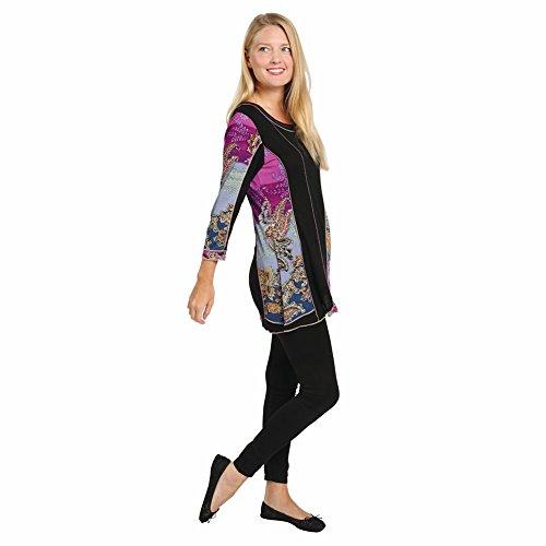 Women's Tunic Top - Amethyst Allure Black & Purple Paisley Print Shirt - 1X