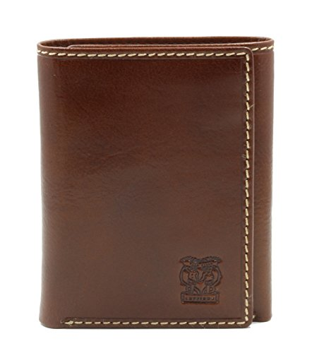 CAPPIANO Mens Leather 8 Credit Card 2 Section Tri-fold Note Case Wallet - Cognac