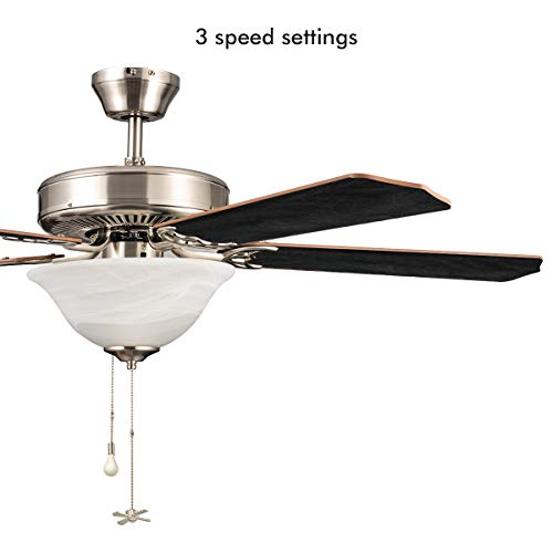 52 inch Ceiling Fan, Sunix Contemporary Brushed Nickel Indoor Ceiling Fan with 5 Blades, 2 LED Bulbs, E26/E27 White Glass Light Kit, Wood