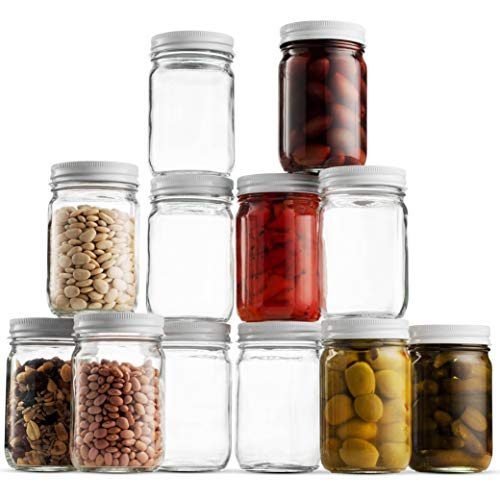 (Glass Mason Jars (12 Pack) - 12 Ounce Regular Mouth Jam Jelly Jars, Metal Airtight Lid, USDA Approved Dishwasher Safe USA Made Pickling, Preserving, Decorating, Canning Jar, Craft and Dry Food Storage )