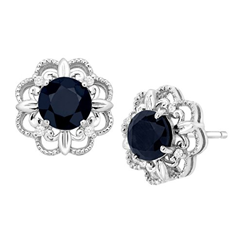 1 1/3 ct Natural Kanchanaburi Sapphire Stud Earrings with Diamonds in 10K White Gold ()