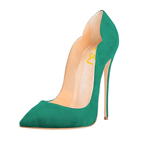 FSJ Women Classic Pointed Toe High Heels Sexy Stiletto Pumps Office Lady Dress Shoes Size 7 Turquoise-Suede ()