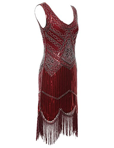 Vintage Women's DarkRed Flapper Sequin Flapper Tassels Dress Hem 1920s Beaded Girl nxWAprn