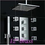 "Rozinsanitary Luxury 12"" Brass Shower Head Thermostatic Valve Mixer Tap Massage Jets Hand Uint"