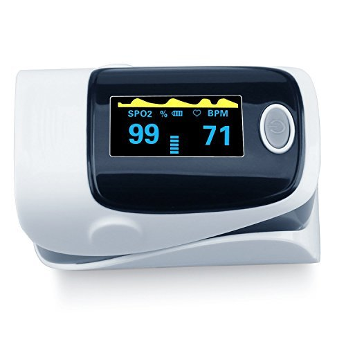 Pulse Oximeter, Finger Portable FDA Approved Digital Blood Oxygen and Pulse Sensor Meter with Alarm SPO2 for Adults and Children (Gray) ()