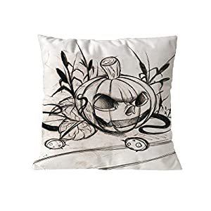 MaxFox Halloween Pumpkin Throw Pillow Cover Cotton Blend Pillow Case Cushion Office Room Car Decor