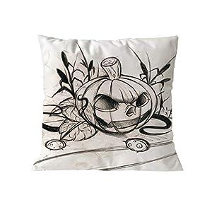 MaxFox Halloween Pumpkin Throw Pillow Cover Cotton Blend Pillow Case Cushion Office Room Car Decor