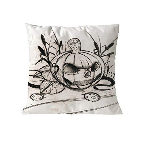 iCJJL Throw Pillow Covers Halloween Garden Cotton Linen Vintage Thanksgiving Day Decor Pillow Case Cushion Cover Pillowslip 5x45cm