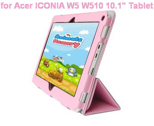"""Acer ICONIA W5 W510 10.1"""" Tablet Custom Fit Portfolio Leather Case Cover with Built In Stand- Pink"""