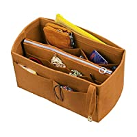 [Fits Neverfull MM/Speedy 30, Light Coffee] Felt Organizer (with Detachable Middle Zipper Bag), Bag in Bag, Wool Purse Insert, Customized Tote Organize, Cosmetic Makeup Diaper Handbag