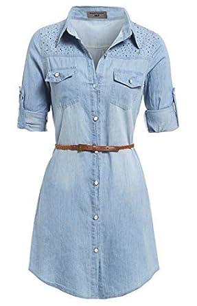 6dd169f324c SS7 NEW Vintage Denim Blue Shirt Dress Sizes 8 - 14 (UK - 12, Denim ...