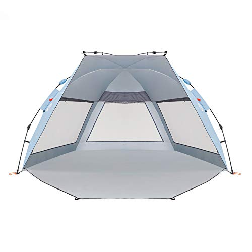 Easthills Outdoors Coastview Classic 2-4 Person Deluxe XL Beach Tent Pop Up Sun Shelter Double Silver Coating Sun Shade Instant Tent for Beach with Carrying Bag Sky ()