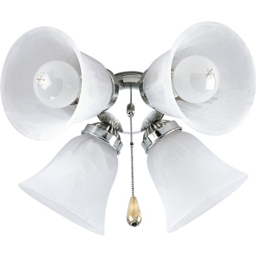Progress Lighting P2610-09 4-Light Kit with White Washed Alabaster Style Glass For Use with P2500 and P2501 Ceiling Fans, Brushed Nickel