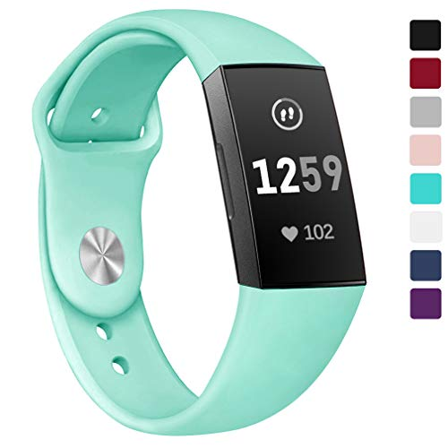 Hamile Bands Compatible for Fitbit Charge 3, Easy to Clean Soft Silicone Watch Strap Replacement Band Wristband for Fitbit Charge 3 & Charge 3 SE, Women Men, Small, Mint Green ()