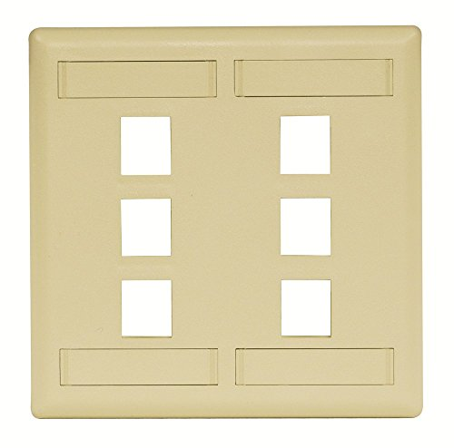 Hubbell IFP26TI Flush Phone/Data/Multimedia Wall Plate, 2 Gang, 6 Port, Telco Ivory (Pack of 10)