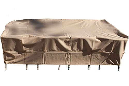 Patio Dining Table and Chair Cover Rectangle Fits Up To 70-Inch Sets, Beige All Weather Protection Waterproof Heavy Duty From Dola Patio by DOLA