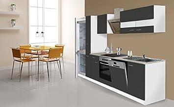 respekta Küche Küchenzeile Küchenblock 310cm weiß Grau Kühlkombi ...