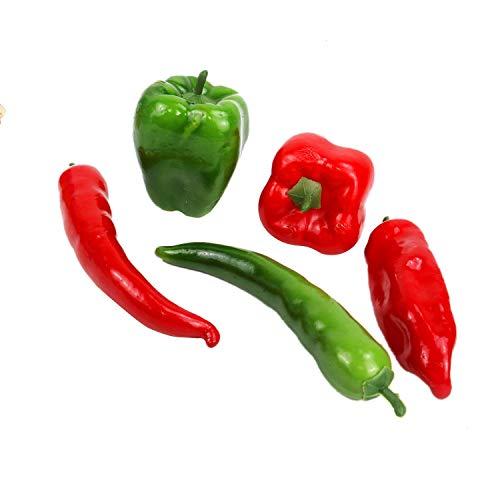 JETEHO 5 PCS Artificial Pepper Chili Fake Vegetable Foam Fake Vegetable for Decor Set Photo Props, Teaching Props