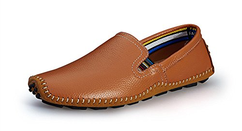 BIFINI Men's Cowhide Casual Driving Moccasins Shoes Slip On Loafer Brown by BIFINI