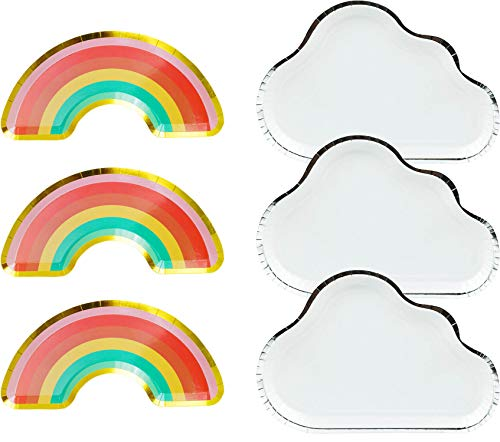 Zealax Rainbow Party Disposable Plates 16ct - Rainbow and Cloud Paper Plates Decorative Tableware Baby Shower Kids Birthday Party Dinnerware]()
