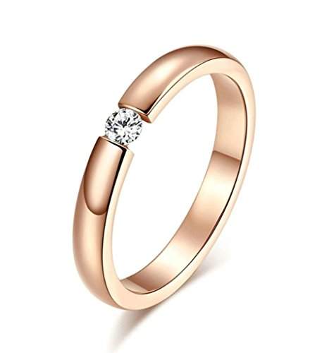 Free Engraving KnSam Women Stainless Steel Bands Rose Gold Single Crystal 3MM Size 9 [Novelty Ring] - Florentine 10 Light Single