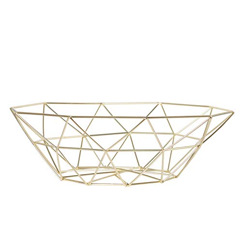Creative Fruit Dish Bowl Basket Container Centerpiece Bowl for Living Room and Modern Kitchen Table(gold)