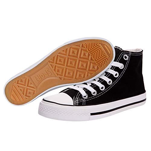 Kivors Zapatos Zapatos Hebilla Top Cremallera Lona Mujer 8CM Tacón Encaje 2 Cuñas Cuña Negro De Casuales Lateral High rEwx0rSqvC