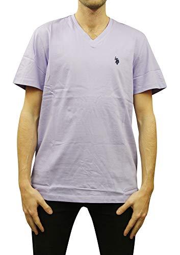 U.S. Polo Assn. Men's V-Neck Short Sleeve T-Shirt, Violet Sky, Large