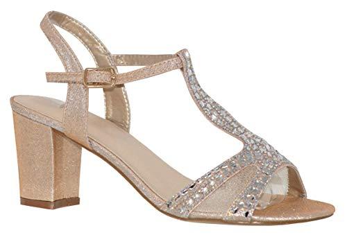 Sparkle Nude - MVE Shoes Women's T Strap Open Toe - Rhinestone Block Heel - Sparkle Party Sandal - Ankle Buckle Sexy Low Heel, Nude spk Size 6