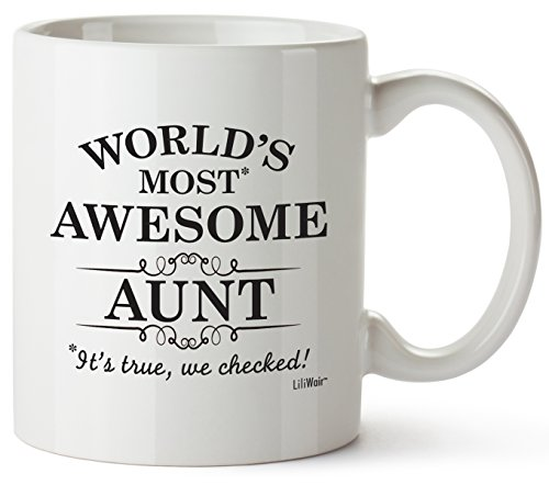 Aunt Gifts Funny Valentines Day San Valentine Aunts Day Gift ideas Auntie Best Ever Birthday Coffee Mugs Cups, For the Greatest Aunt's Birthdays Novelty Cup, World's Most Awesome Aunt Gag Mug (San Candy Valentine)