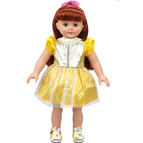 [Banne Park Rids 18 Inches Simulatio Yellow Dress New Bitty Princess Baby Doll's Clothes] (Red Indian Princess Costume)