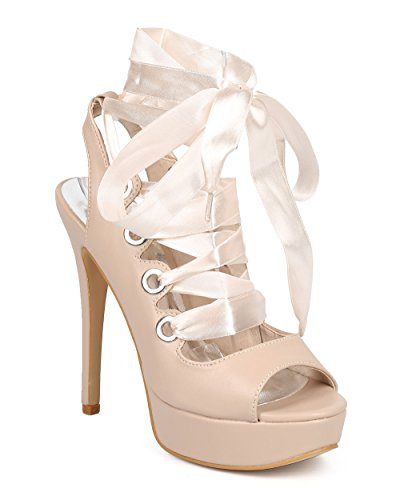 Wild Rose Women Leatherette Peep Toe Gilly Ribbon Tie Ankle Wrap Platform Stiletto Sandal DD61 - Nude (Size: 10)