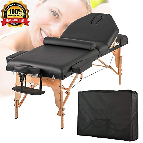 Massage Table Portable Spa Bed Fold Massage Bed 77″ Black Height Adjustable PU Spa Table with Free Carry Case&Face Cradle&Armrest Wooden Frame Beauty Therapy Facial Tattoo Salon Table, Holds 450LBS