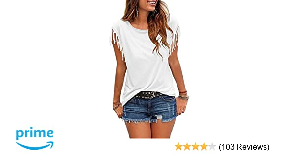 10b77dbe2 Cosonsen Women's Tassel Short Sleeve Round Neck T-Shirt Top Casual Summer  Tee at Amazon Women's Clothing store: