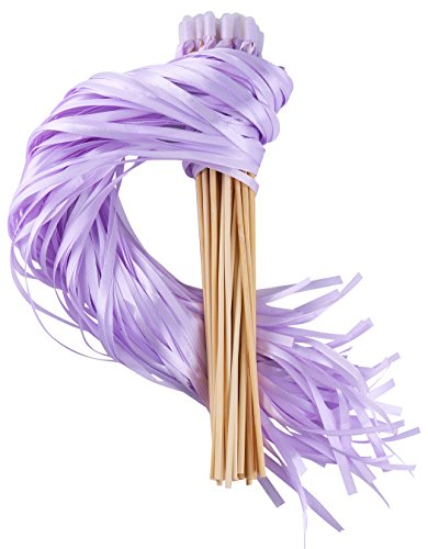 Wishprom Ribbon Wands Sticks Streamers for Wedding Party Favor (Lavender-30PCS) - Lavender Wedding Ribbon