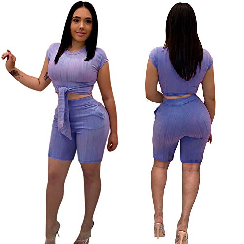 (Women Sexy 2 Piece Outfits- Short Pant Rompers Tie Crop Top with Sleeve Pockets Purple)