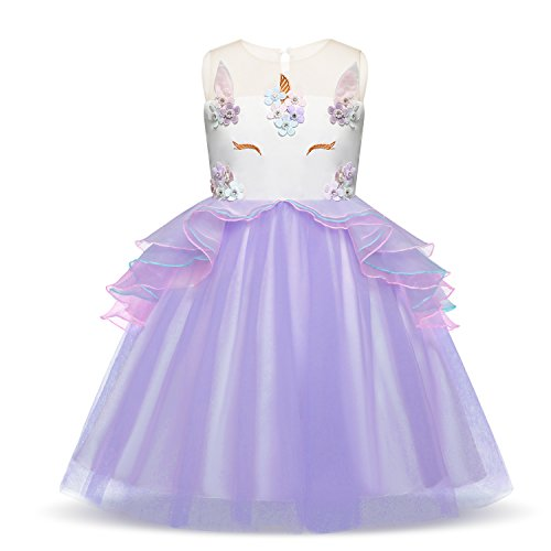HUANQIUE Girls Unicorn Dress Pageant Party Birthday Dresses Ball Gowns Purple 7-8 Y