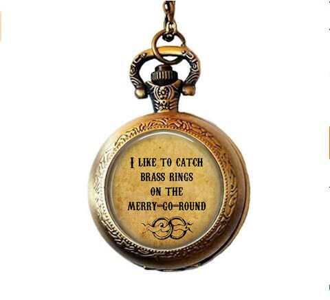 Old Folk Song I Like to Catch Brass Rings on The Merry-Go-Round- Calliope Jewelry - Musical Lyric Pocket Watch Necklace - Merry Go Round - Folk Music -