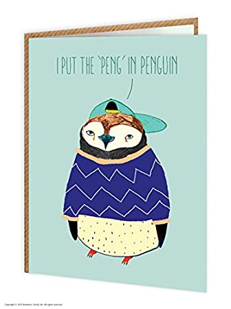 Funny Humorous I Put Peng In Penguin Birthday Card Amazon