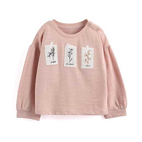 Aimama Toddler Girls Sweatshirts with Patch Decoration Printed Pullover Crewneck Cotton Pink for 1-6T