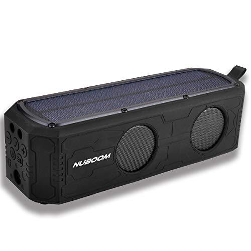Solar Bluetooth Speaker Outdoor w. 55+ Hours Playtime, 10W Stereo Subwoofer Bass, 4400mAh Power Bank, IPX5 Splashproof and Bluetooth 4.0 Connection (Surface Black) by NUNET