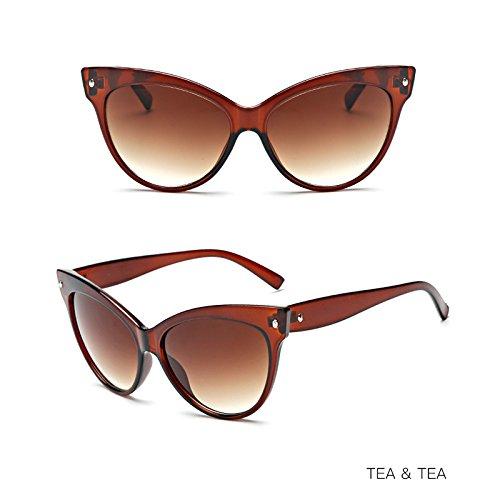 TEA Color Vidrio TEA De Señorita Gato W Negro W De La Grey TIANLIANG04 Ojos Mujer Para De Brillante Gafas Sol SnxwHfqdTw