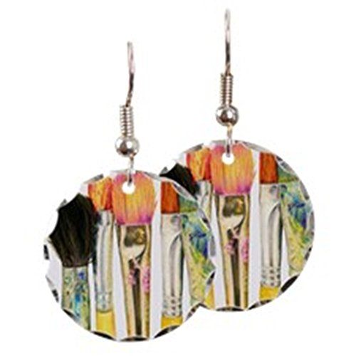 cafepress-artist-paint-brushes-02-charm-earrings-with-round-pendant