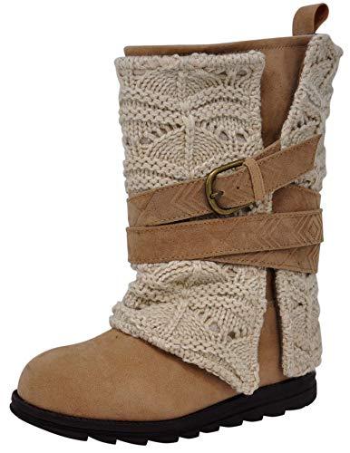 MUK LUKS Women's Nikki Grey Fashion Boot (7 M US, Ivory/Tan)